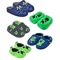 Minecraft Boys/Kids Comfort Slippers House Shoe (Creeper Zombie Steve Alex)
