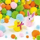 Großpackung bunte Pompons 'Frühling' - für Kinder zum Basteln - toll für Figuren und Dekoration (200 Stück)