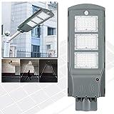 NAIZY - Lampada a energia solare a LED, 60 W, con sensore di movimento, impermeabile, utilizzabile come lampione, 60 W, luce bianca fredda., 60w,Kaltweiß