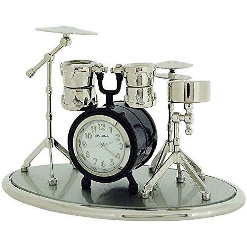 Miniatur Uhren Schlagzeug silberf. & schw. lackierte Sammleruhr 9078 - 2