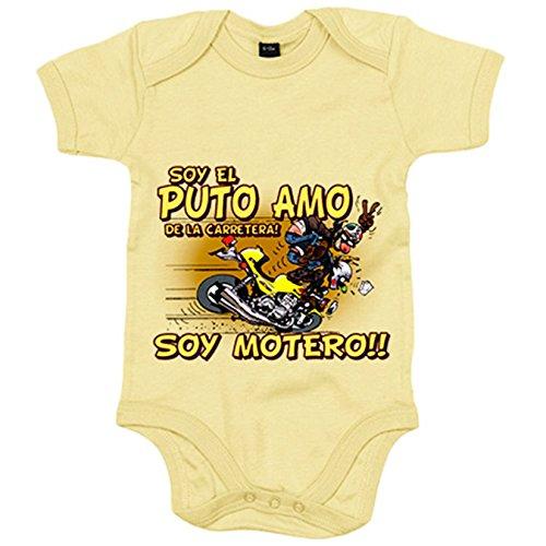 Body bebé soy el Puto Amo de la carretera soy motero - Amarillo, 12-18 meses
