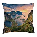 Landscape Throw Pillow Cushion Cover, Reinebringen at Lofoten Islands in Norway Summer Sunrise Rocky Coastline, Decorative Square Accent Pillow Case, 18 X 18 inches, Blue Green Coral
