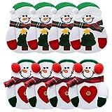 Cikuso 8 Stuecke Weihnachts Dekoration Schneemann Silber Besteck Halter Taschen Tisch Dinner Haus Dekoration