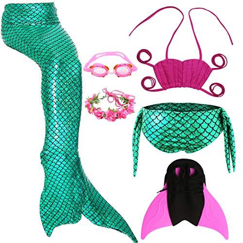 Meerjungfrau Schwanz mit Monofin Kinder Cosplay Badeanzug Kostüm, Mädchen Princess Bikini Set mit Schwimmbrille & Kranz & Schwimmflossen Trainingsflossen (XXL 141-150cm, JP10)