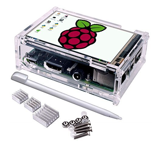 Quimat 3,5 Zoll Touchscreen-Monitor 320 x 480 Auflösung TFT LCD-Display Modul SPI-Schnittstelle mit Touch-Pen für Raspberry-pi 2 3 Modell B/B + 2B QSC11(With case) (Display)
