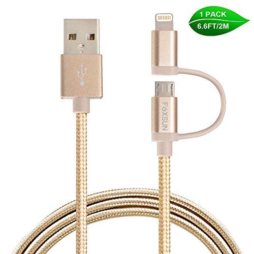 Preisvergleich Produktbild 2 in 1 Ladekabel Micro USB Kabel, FOXSUN 6.6 ft/2m Nylon geflochtenes Lightning Ladekabel [Apple MFi zertifiziert] für iPhone 7/ 7Plus/ 6sPlus/ 6s, iPad/ iPod, Samsung, Huawwei ,HTC und mehr – Golden