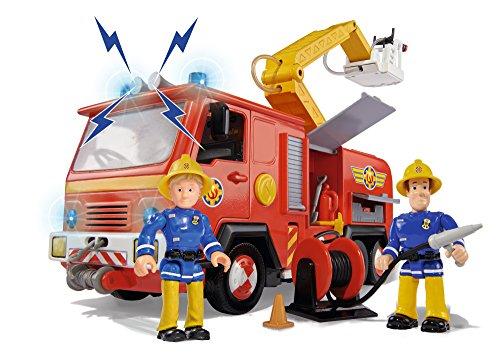 - 51OpTra 8vL - Simba 109257661 – Feuerwehrmann Sam Jupiter Feuerwehrauto mit 2 Figuren, 28 cm