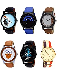 NIKOLA Brand New Tread Mahadev Beard Style Black Blue And Brown Color 6 Watch Combo (B22-B47-B39-B55-B23-B50)...