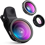 AMIR Fisheye Lens, 3 in 1 Clip-On Cell Phone Lens, 140 Degree Fisheye Lens + 4X Macro Lens + 0.4X Wide Angle Lens, Professional HD Camera Lens for iPhone 7/ 7 Plus/ 6/ 6s Plus/ SE, LG, HTC, Huawei, Samsung and Other Smartphone