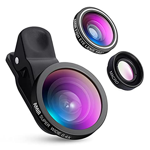 AMIR 3 in 1 Cell Phone Lens, 180° Fisheye Lens + 4X Macro Lens + 0.4X Wide Angle Lens, Professional HD Camera Lens Kits for iPhone 7/ 7 Plus/ 6/ 6s Plus/ SE, HTC, Huawei, Samsung and Other