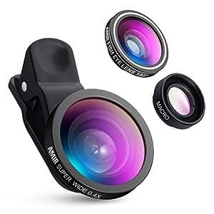 AMIR Lenti Smartphone 3 in 1 Clip-on Lenti Fisheye, 10x Obiettivo Macro, 0.4x 140° Lenti Grandangolo, per iPhone 7, iPhone 6s, 6s Plus, iPhone6, 6 Plus, Samsung e Altri Smartphone