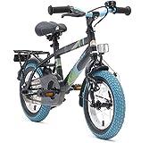 BIKESTAR Premium Sicherheits Kinderfahrrad 12 Zoll für Mädchen und Jungen ab 3-4 Jahre ★ 12er Kinderrad Modern ★ Fahrrad für Kinder Schwarz & Blau