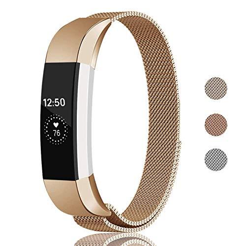 Fundro Armband Für Fitbit Alta und Alta HR, Edelstahl Uhrenarmband Magnetschleife Edelstahlband Ersatz Armbänder Für Fitbit Alta HR und Alta (Roségold, S)