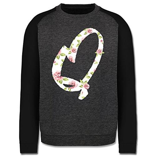 Anfangsbuchstaben - Q Rosen - Herren Baseball Pullover Dunkelgrau Meliert/Schwarz
