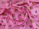 Cupcakes & Kirschen Print Baumwolle Popeline Kleid Stoff