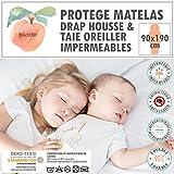 Protège matelas / alèse-90x190 cm + Taie Oreiller -PEACHSKIN-100% Imperméables-OEKOTEX-Respirant-Antibactérien-Antiacarien-Coton éponge