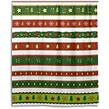 Feliz Navidad cortina de ducha de baño 60x 72inch, Rojo y verde rayas árbol de Navidad, resistente al agua tela de poliéster cortina de baño