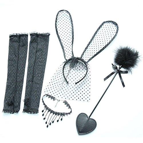 Weddwith Testa accessori Accessori di lingerie sexy piuma flirtare bastone orecchie coniglio in pizzo fascia colletto a catena clavicola quattro gruppi