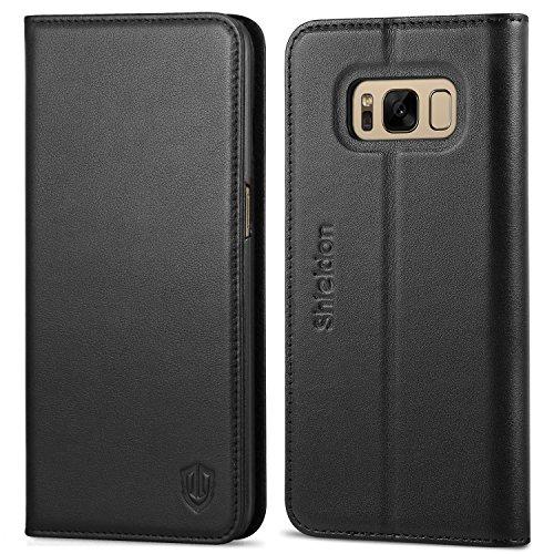 Funda Galaxy S8, SHIELDON [Garantía de por Vida] Funda de cuero genuino para Samsung Galaxy S8, funda libro piel, ranuras para tarjetas de crédito y dinero, cierre magnético, negra