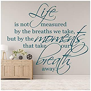 azutura Life Is Not Measured Wall Sticker Inspirational Quote Wall Decal Art Home Decor available in 5 Sizes and 25 Colours Medium Black
