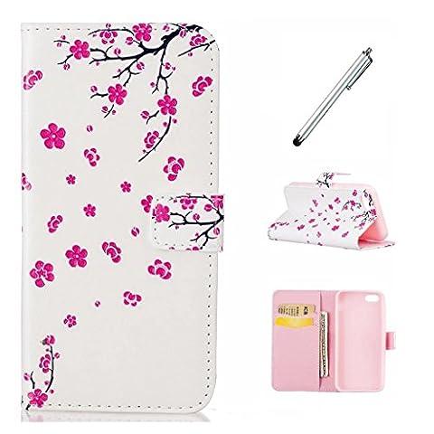 MUTOUREN Huawei P9 Wallet Case PU Leather Flip Case Premiun Wallet Phone cover Anti-Scratch shock absorbing Card slots fashiom pattern-plum blossom+mental silvery
