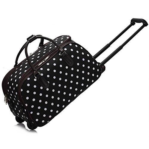 LeahWard Großes Qualitäts-Gepäck der Frauen Canvas Butterfly / Owl Print Reisetaschen mit Rad Koffer Handtaschen CW308 (Schwarz Punkte) (Reisetaschen Bag Tag)