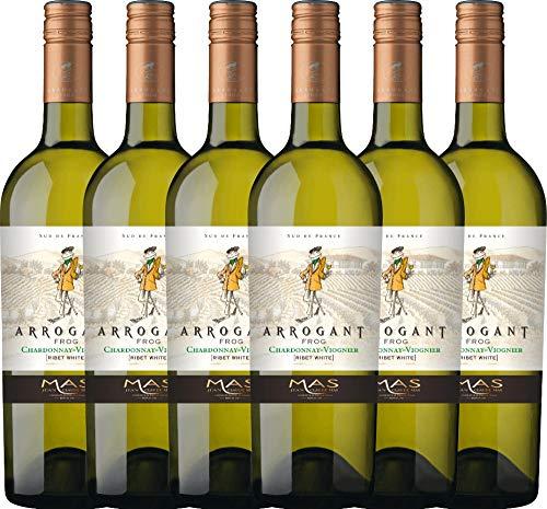 6er Paket - Ribet Blanc Chardonnay Viognier 2018 - Arrogant Frog mit VINELLO.weinausgießer | trockener Weißwein | französischer Wein aus Languedoc | 6 x 0,75 Liter (Languedoc Wein)