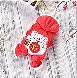 bdxka Festival Inverno Abbigliamento per Cani di Taglia Grande Cucciolo Rosso Caldo Neve Cappotto con Cappuccio per Animali Cappotto Tuta per Animali di Piccola Taglia Rosso Totale XS