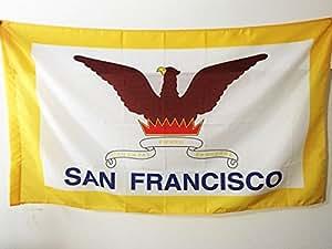 DRAPEAU SAN FRANCISCO 150x90cm - DRAPEAU VILLE DE SAN FRANCISCO - CALIFORNIE 90 x 150 cm Fourreau pour hampe - AZ FLAG