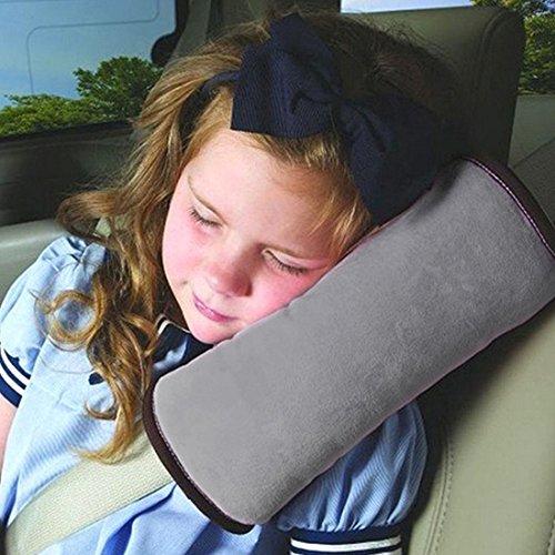 Sicherheitsgurt Kissen für Kinder defgo Auto Sicherheitsgurt Gurt Schulterpolster Bezug Kopfstütze Nackenstütze für Kinder Kid Erwachsene grau