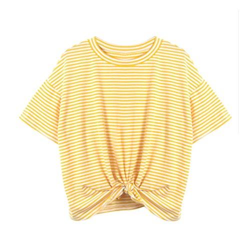 LeeY Damen Sexy Sommer Gestreiften T-Shirts Beiläufig Kurzarm Rundhals Mode Bluse Tops Bandage Slim Hemd Oberteile Einfarbig Korsett Kurzes Unterhemd Tunika Trägershirts (Gelb, S)