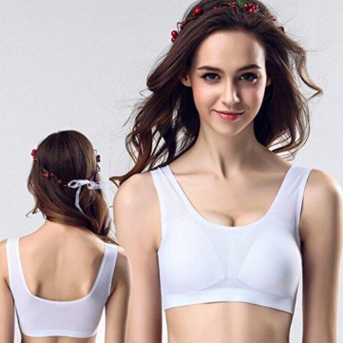Soutiens Gorge de Sport, Bonjouree Soutiens gorge en Coton Push-up Rembourré Sans Armature Blanc