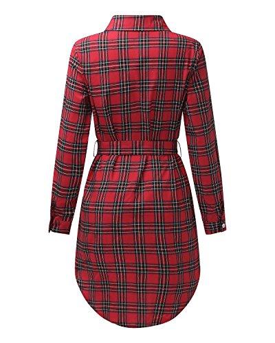 StyleDome Femme Chemise Robe Carreaux Bouton Manches Longues Casual Blouse Tunique Longue Mini Robe Bordeaux