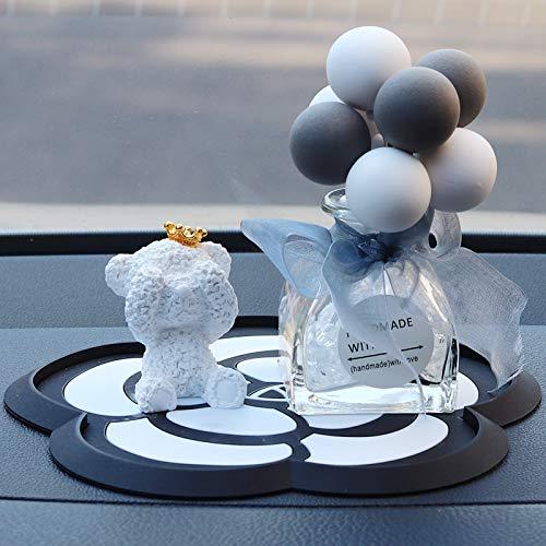 Autoverzierungen, niedliche Autozubehörteile, Bärenverzierungen Weißer Bär + graue Aromatherapieflasche -