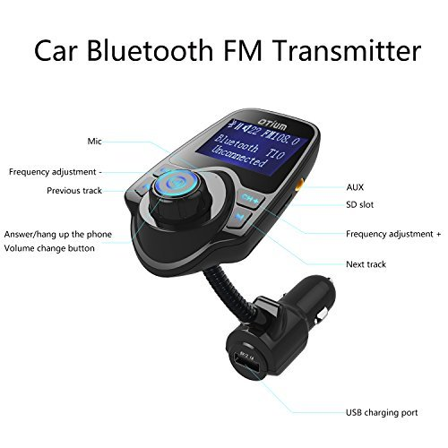 Otium-Car-Bluetooth-MP3-Player-FM-Transmitter-Hands-Free-Calling-Wireless-Radio-Adapter-USB-Car-Charger-with-35mm-Audio-Device-TF-Card-Slot-for-iPhone-7-SE-6s-6s-Plus-iPad-HTC-and-all-Bluetooth-Device