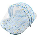 Baby Grow Toddler Mattress With Mosquito Net (Blue Love Bear)