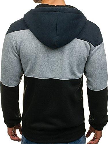 BOLF Herren Kapuzenpullover mit Reißverschluss Baumwollmischung Sweatjacke Hoodie 1A1 Schwarz-Dunkelgrau_2011