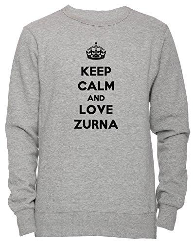 Keep Calm And Love Zurna Unisex Herren Damen Jumper Sweatshirt Pullover Grau Größe XL Men's Women's Grey X-Large Size XL