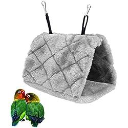 Bello Luna Loro gris nido de pájaro mascota nido de invierno cálido hamaca colgante cueva jaula de felpa Happy Hut tienda de cama (S)