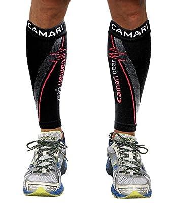 Camari Gear Compression Sleeve (1 PAIR) - For Shin Splints, Calf Strains, Sports Recovery - Leg Socks For Men and Women - Black - Calf Guard for Running, Marathon, Rugby, Walking, Tennis, Golf, Cycling, Maternity, Travel, Nurses, Flight, Gym, Work, Medica