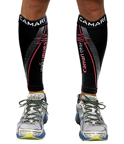 Camari Gear Compression Sleeve (1 PAIR) - For Shin Splints, Calf Strains, Sports Recovery - Leg Socks For Men and Women - Black - Calf Guard for Running, Marathon, Rugby, Walking, Tennis, Golf, Cycling, Maternity, Travel, Nurses, Flight, Gym, Work, Medical