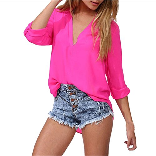 Culater® Moda Mujeres Ocio floja de la gasa de la blusa de manga larga (L, Rosa Fuerte)