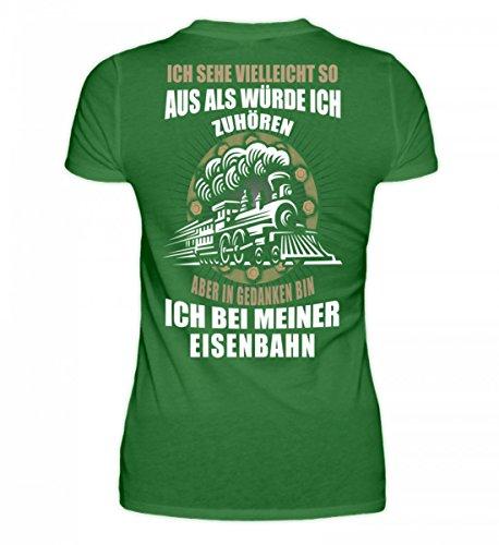 Shirtee Hochwertiges Damen Organic Shirt - Eisenbahn - in Gedanken Bin Ich Kelly Green