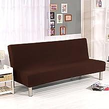 Color sólido sin reposabrazos fundas de sofá, poliéster elastano Tejido elástico Slipcovers plazas sofá pantalla para plegable Sofá cama sin reposabrazos
