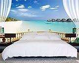 XLi-You 3D Tapete Fresko Jede Größe Wohnzimmer Dekoration Hintergrundbild Anpassen Außerhalb Der Blick Auf Das Meer Blauer Himmel Landschaft 3D Fototapete Wandmalerei Hintergrundbild 200cmX150cm