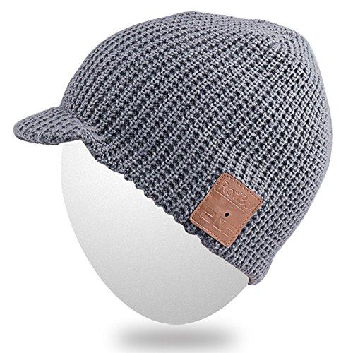 MYDEAL Frauen der Männer Stilvolle Bluetooth Beanie Hut Kappe mit drahtloser Bluetooth Kopfhörer Ohrhörer Musik Freisprech für Wintersport Fitness Gym Übungs Trainings Lifestyle - Grau (Beanie Mit Pom Galaxy)
