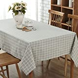 GWELL Leinen Tischdecke Eckig Abwaschbar Tischtuch Pflegeleicht Schmutzabweisend 7 Farbe & 10 Größe wählbar graue Karos 100*140cm