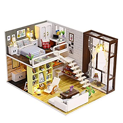 MIFXIN 3D Cozy DIY Wooden Miniature Dollhouse Kits with LED Light, Creative Handmade Home Furniture Handmade 2 Levels Construction Model for Adults Kid Education Gifts