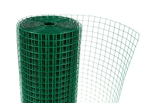 "G4RCE® 1"" x 1"" Green PVC Coated Welded Mesh Wire 30m or 45m roll in 2 widths Chicken Rabbit Animal Fence Steel Metal Garden Netting Fencing (1.2M X 30M) 5"