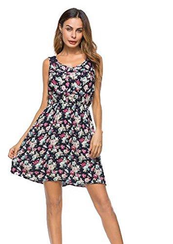 YELINGYUE Frauen Kleider Blume Drucken Floral Scoop Neck Sleeveless Eine Linie Kleid Gummizug Spitzenkleid, 8004 Schwarz, L Linie Scoop Neck